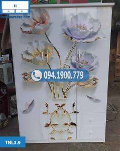 Mã TNL3.9 Tủ nhựa đựng quần áo 3 cánh(buồng) in 3D hình hoa bạc