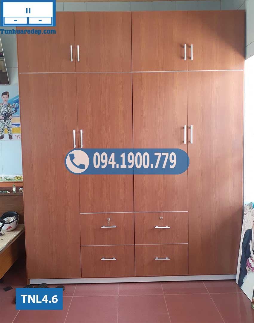 Tủ nhựa quần áo 4 cánh kịch trần nhiều ngăn kéo TNL4.6
