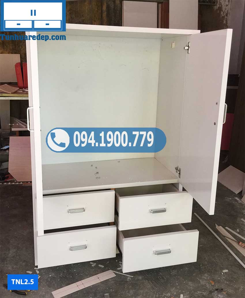 Tủ nhựa quần áo 2 cánh 4 ngăn kéo TNL2.5