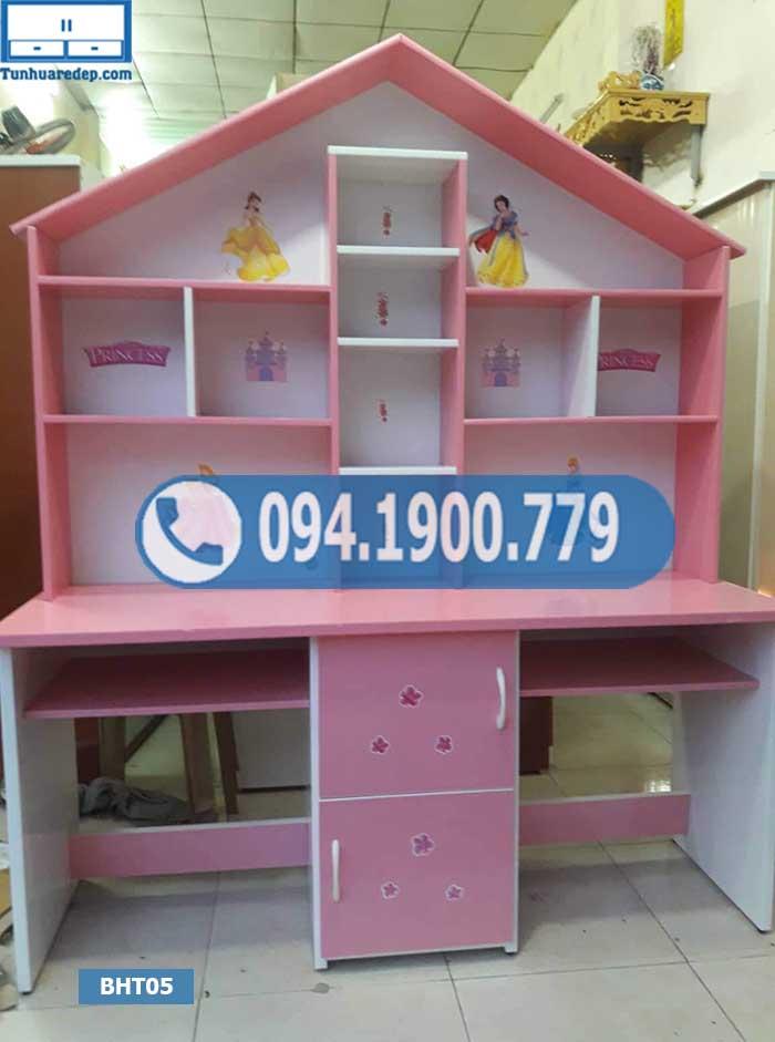 Bàn học đôi nhựa Đài Loan cho trẻ em nóc ngôi nhà lớn BHT05
