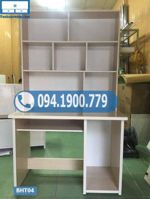 Bàn học nhựa Đài Loan liền giá sách cho bé nóc kín BHT04
