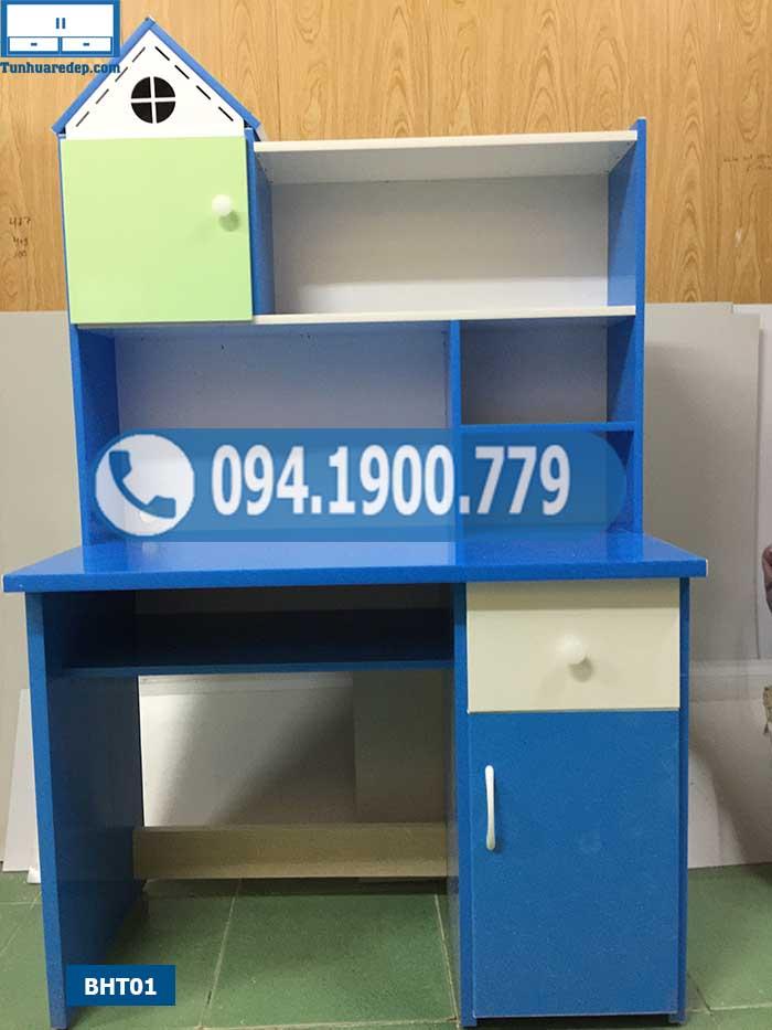 Bàn học trẻ em liền giá sách chóp ngôi nhà nhỏ nhựa Đài Loan BHT01