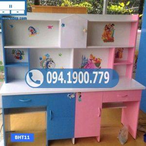 Bàn học nhựa đôi cho 2 bé 2 tủ đựng cặp sách BHT11