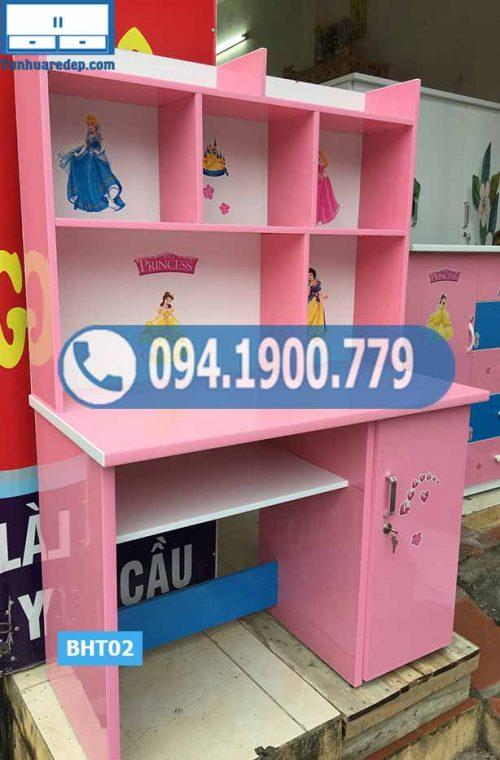 Bàn học nhựa Đài Loan cho bé liền giá sách hở nóc BHT02