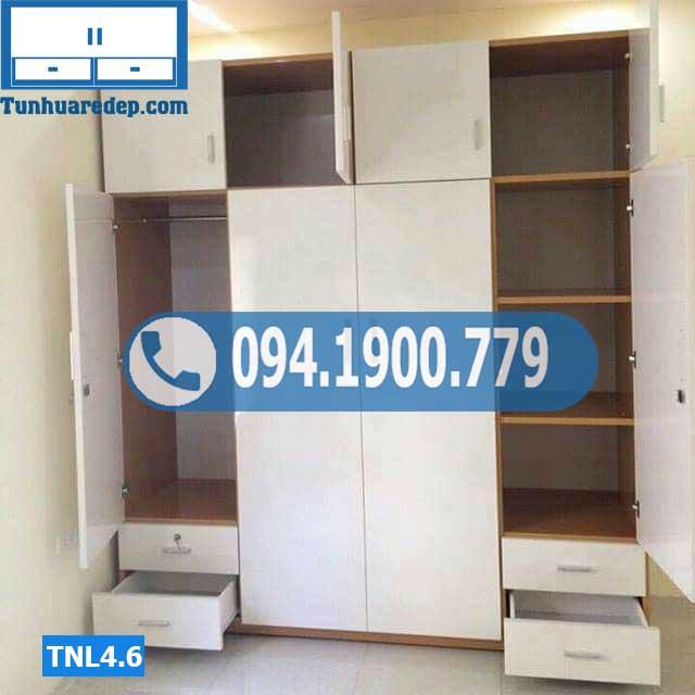 Tủ nhựa quần áo 4 buồng kịch trần nhiều ngăn TNL4.6