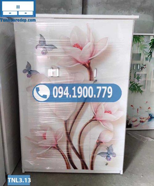 Tủ nhựa đựng quần áo 3 buồng in 3D hình lục bình TNL3.13