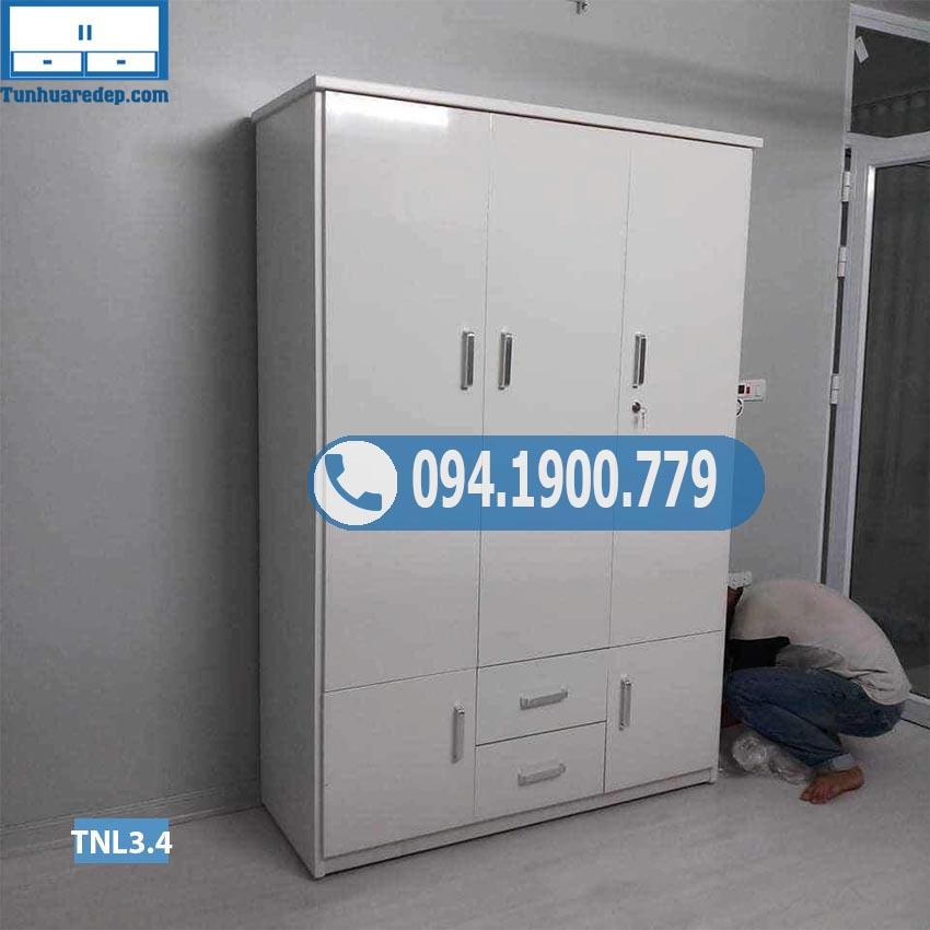 Mã TNL3.4 Tủ nhựa đựng quần áo người lớn(buồng) 3 cánh 2 hộc 2 ngăn kéo