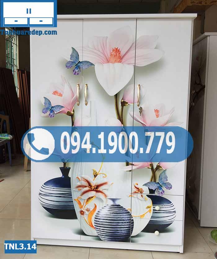 Tủ nhựa quần áo 3 cánh in 3D hình lộc bình hoa lá TNL3.14