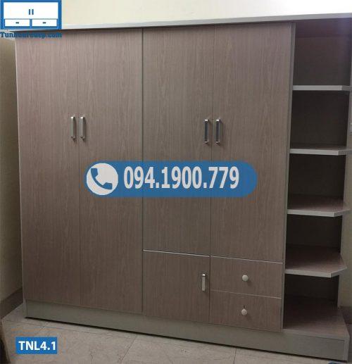 Tủ nhựa đựng quần áo người lớn 4 cánh(buồng) 1 hộc TNL4.1