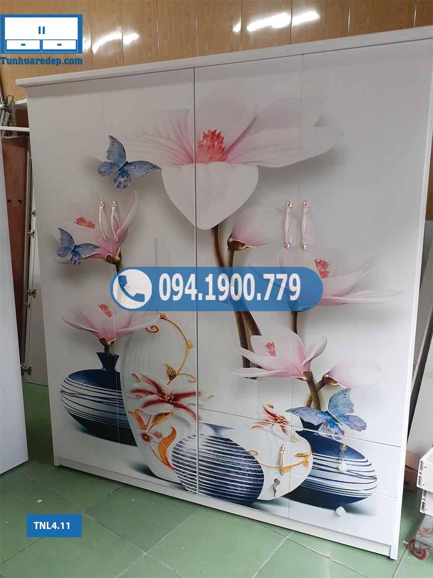 Tủ nhựa đựng quần áo 4 cánh người lớn in 3D hình lục bình TNL4.11