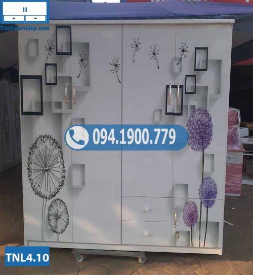 Tủ nhựa đựng quần áo 4 cánh in 3D hình hoa hồng TNL4.10
