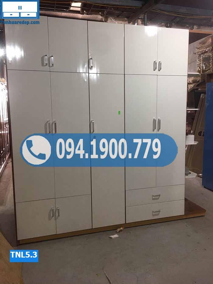 Tủ nhựa đựng quần áo 5 cánh kịch trần nhiều ngăn TNL5.3