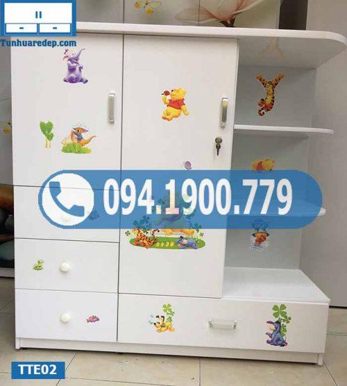 Tủ nhựa quần áo cho bé 2 buồng 1 hộc TTE02