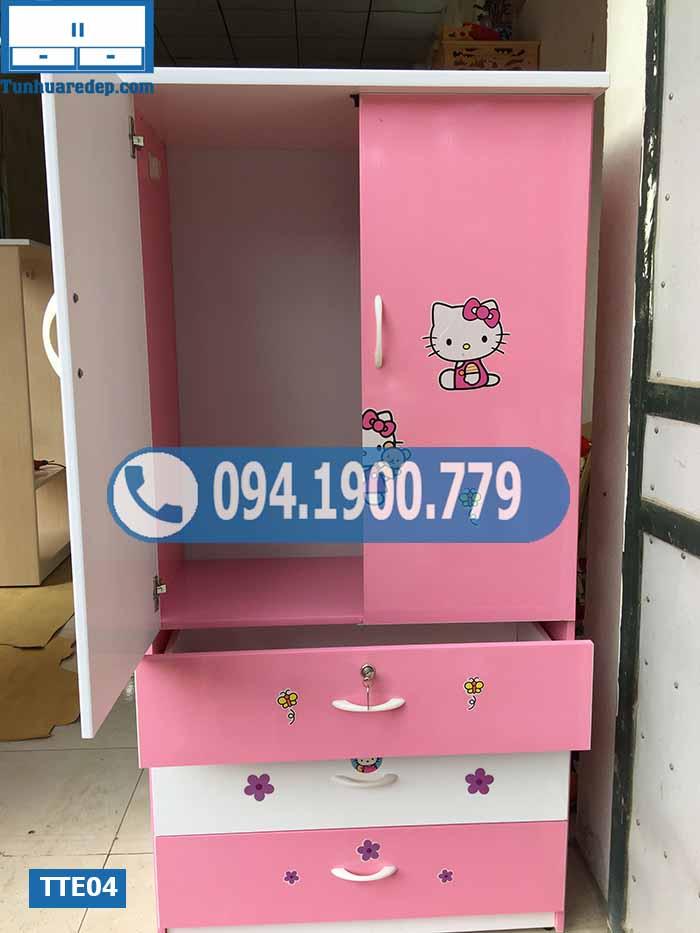 Tủ nhựa quần áo trẻ em 2 cánh 3 ngăn kéo to TTE04