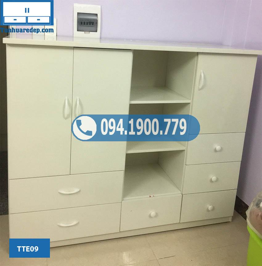 Tủ nhựa đựng quần áo cho trẻ em 3 cánh nhiều ngăn kéo TTE09
