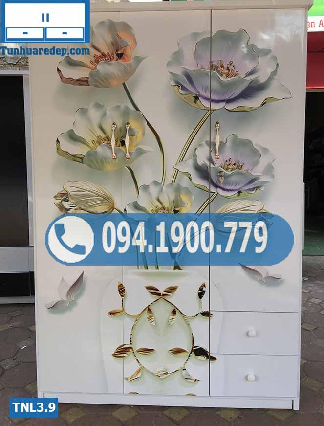 Tủ nhựa đựng quần áo 3 cánh(buồng) in 3D hình hoa TNL3.9