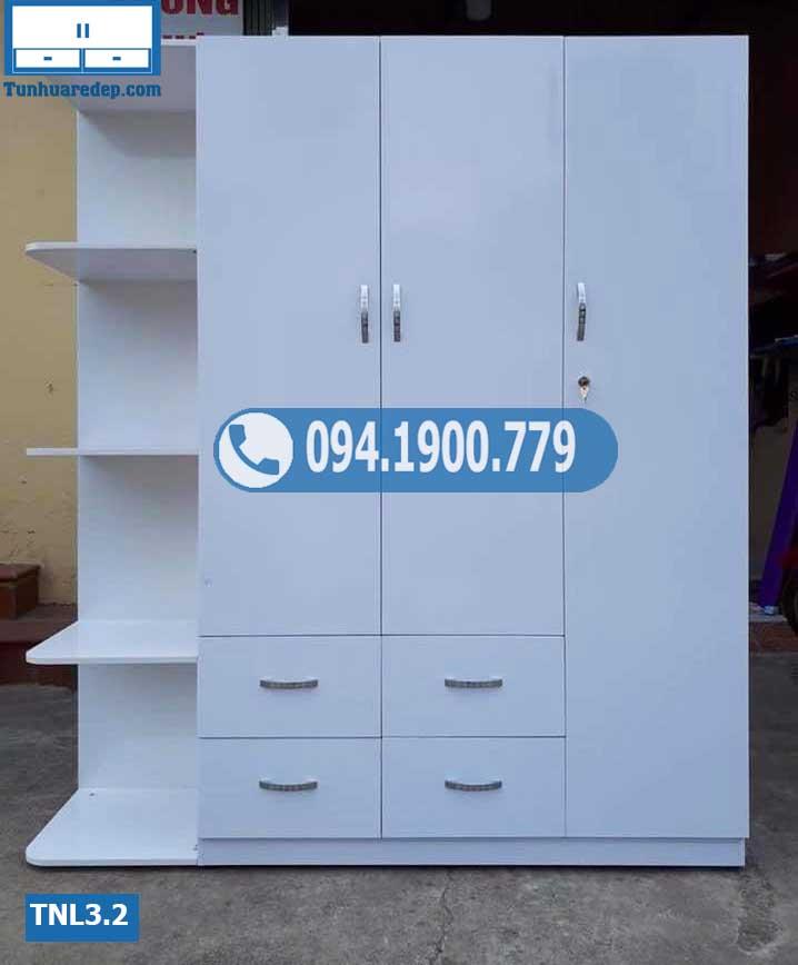 Tủ nhựa quần áo người lớn 3 cánh(buồng) 1 hốc TNL3.2
