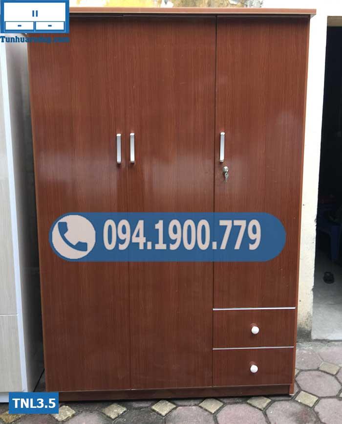 Tủ nhựa chứa quần áo người lớn 3 cánh(buồng) 2 ngăn kéo nhỏ TNL3.5