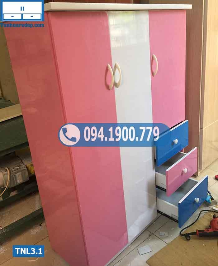 Tủ nhựa quần áo 3 cánh(buồng) 3 ngăn kéo nhỏ TNL3.1
