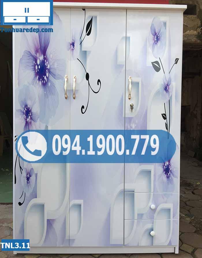 Tủ nhựa quần áo 3 cánh(buồng) in 3D hình hoa xanh TNL3.11