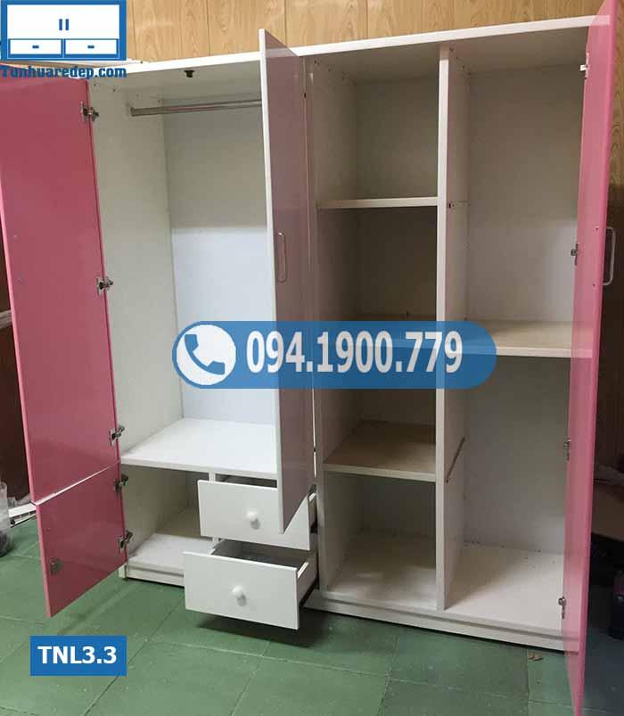Tủ nhựa đựng quần áo người lớn 3 cánh(buồng) 1 hốc ở giữa TNL3.3