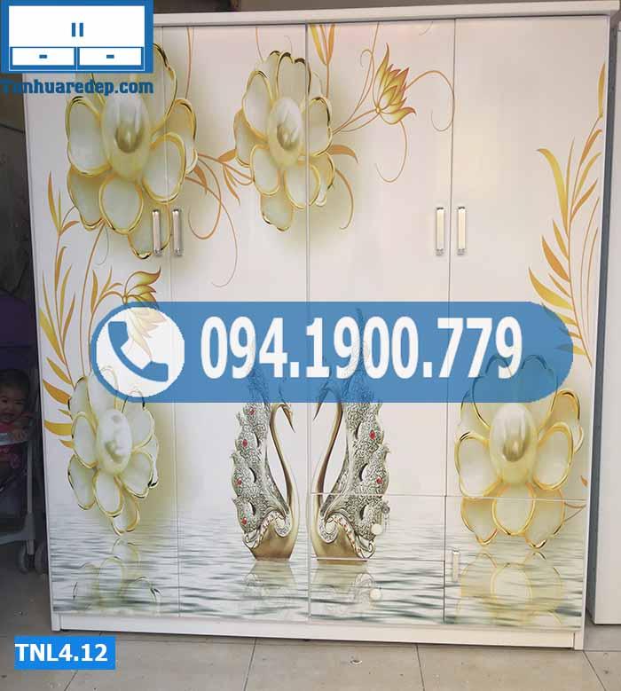 Tủ nhựa đựng quần áo 4 cánh in 3D hình thiên nga vàng TNL 4.12