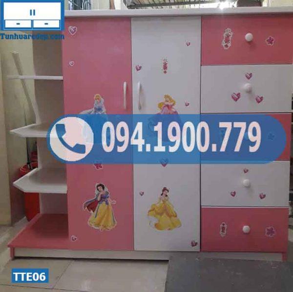 Tủ nhựa quần áo trẻ em 2 buồng 5 ngăn kéo 1 hộc TTE06