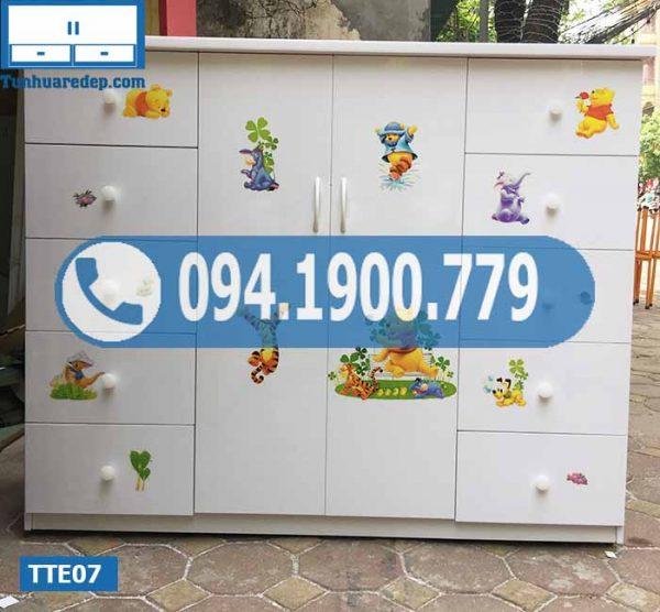 Tủ nhựa quần áo trẻ em 2 cánh 10 ngăn kéo TTE07