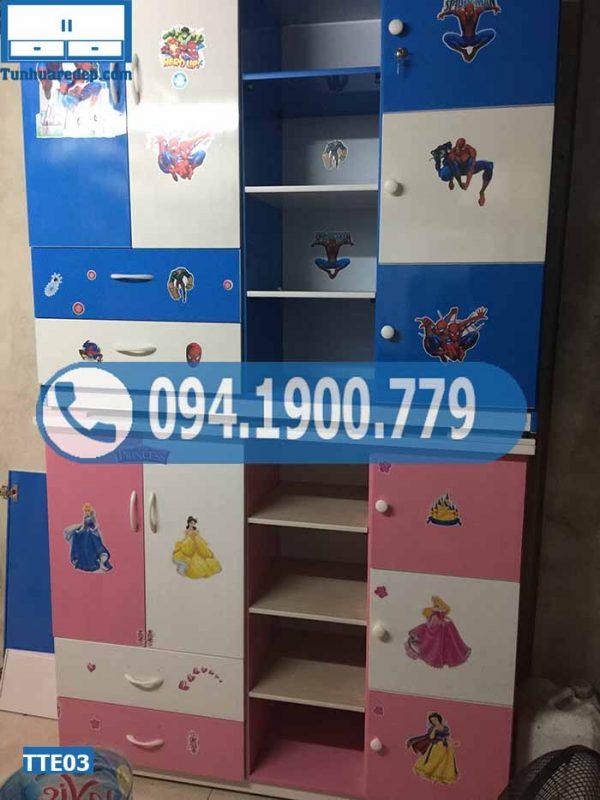 Tủ nhựa quần áo cho bé 2 cánh 3 ngăn kéo TTE03