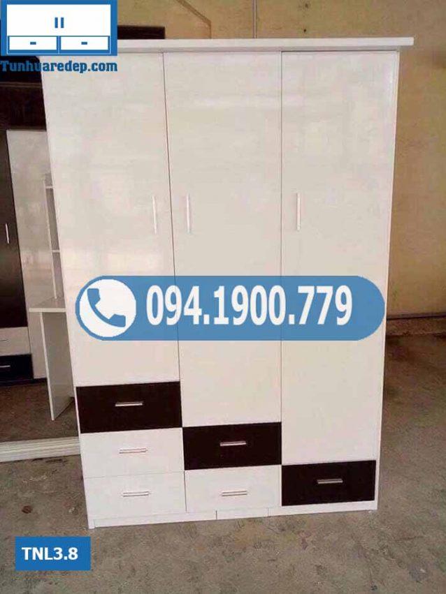 Tủ nhựa đựng quần áo 3 cánh(buồng) 6 ngăn kéo TNL3.8