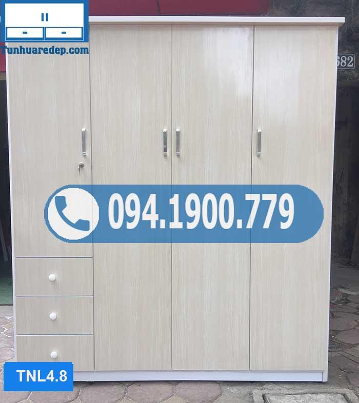 Tủ nhựa quần áo người lớn 4 buồng 3 ngăn kéo TNL4.8