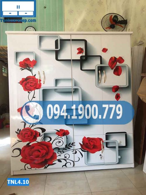 Tủ nhựa quần áo 4 buồng in hình 3D hoa hồng TNL4.10