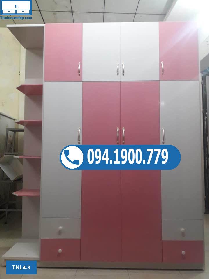 Tủ nhựa quần áo người lớn 4 cánh cao kịch trần TNL 4.3
