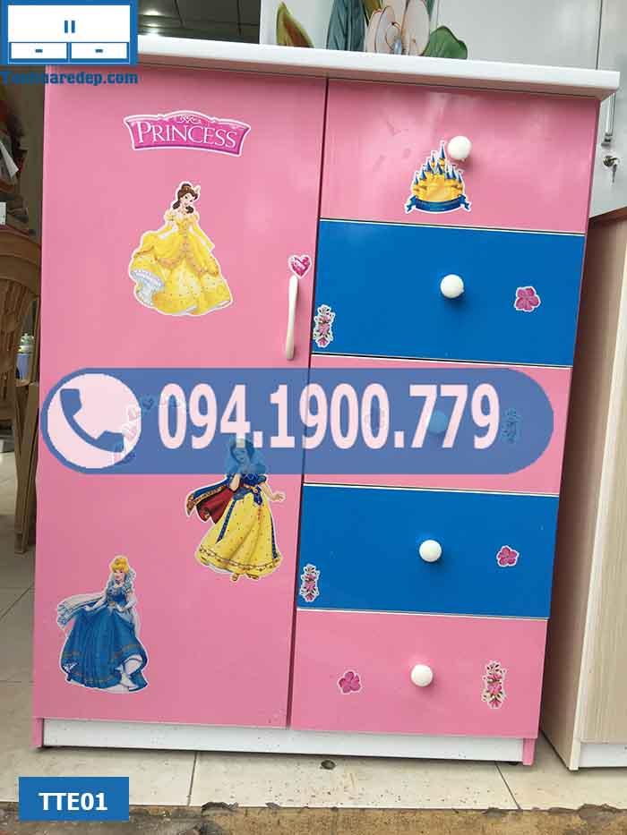 Tủ nhựa quần áo trẻ em 1 cánh 5 ngăn kéo TTE01