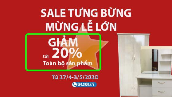 Sale tưng bừng Mừng lễ lớn: Giảm tới 20% toàn bộ sản phẩm